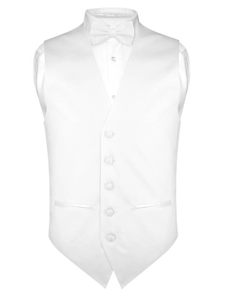 Mens SLIM FIT Dress Vest BowTie Solid WHITE Color Bow Tie Handkerchief Set