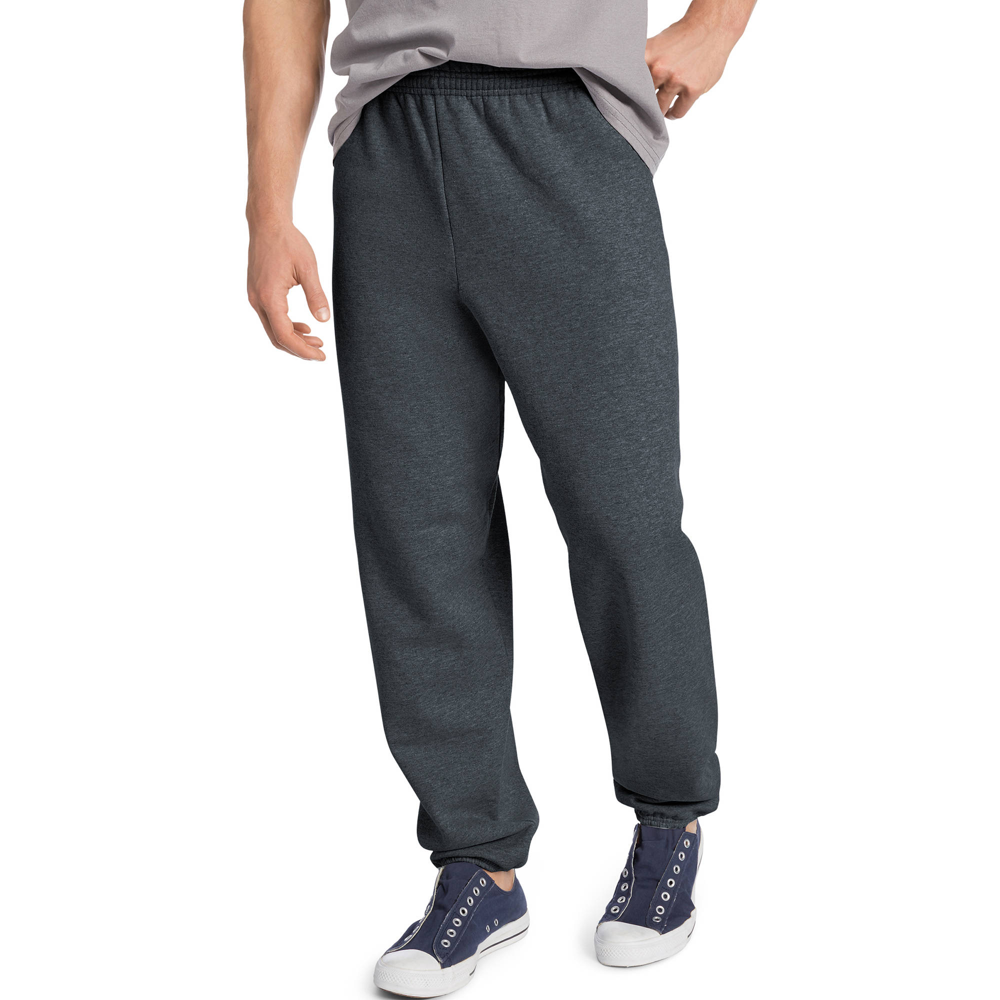 Hanes Men's EcoSmart Elastic Bottom 32 Inch Inseam Sweatpants, Charcoal Sweater