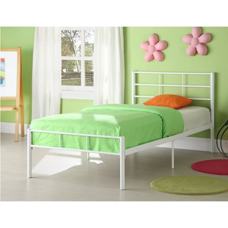 Walker edison bt40wh twin metal bed frame white for White metal twin bed frame