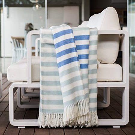 Admirable Haven And Earth Duckegg Blue Throw Blanket For Couch Or Bed Large Warm And Cozy Melody Border Stripe Supersoft For Snuggling Onthecornerstone Fun Painted Chair Ideas Images Onthecornerstoneorg