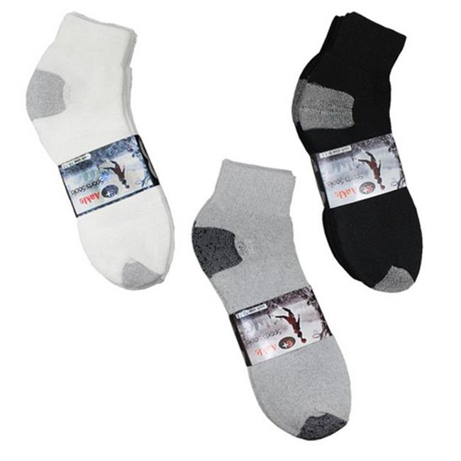 Cotton Plus Wholesale Ankle Socks, Black & Grey - Case of 240