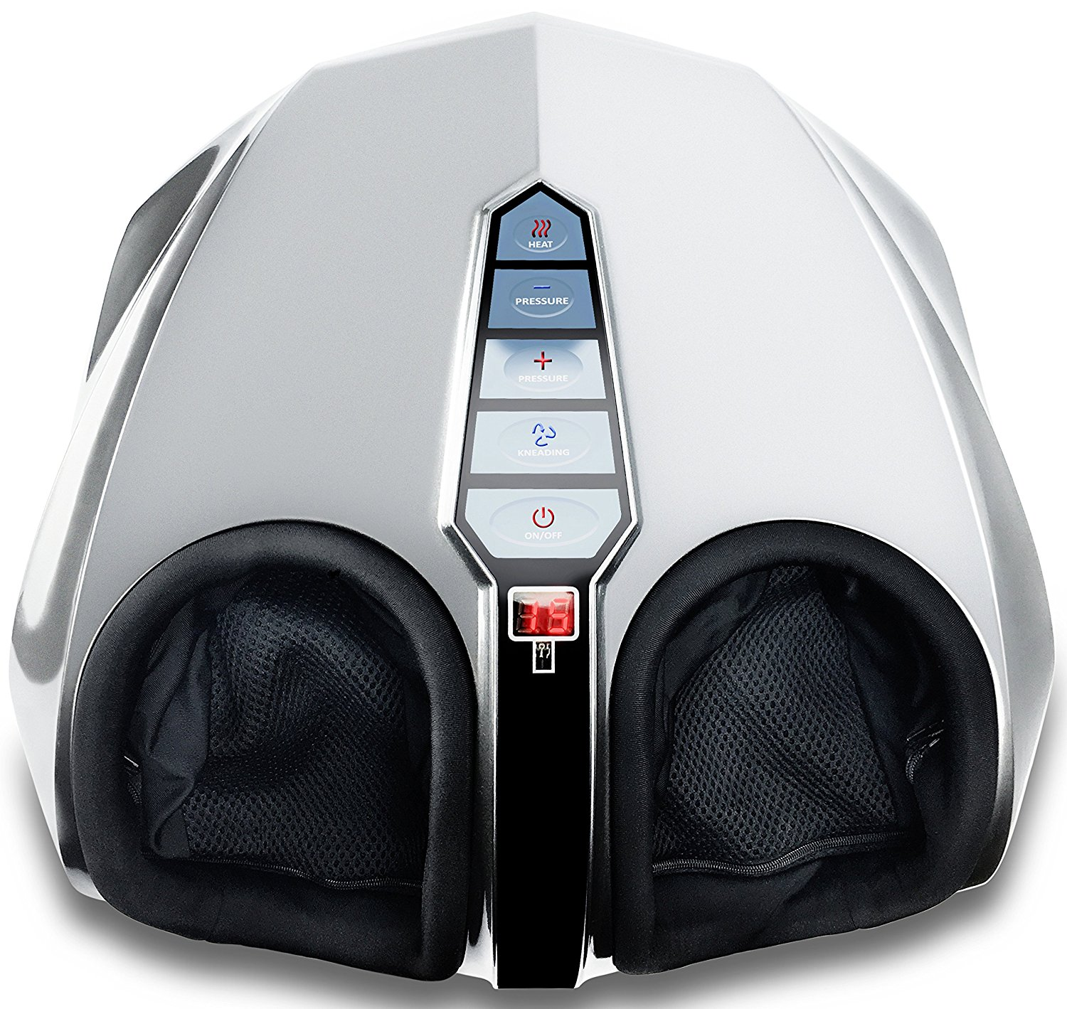 Miko Shiatsu Foot Massager Kneading and Rolling With Heat and Pressure Settings with 2 Remotes (Silver)