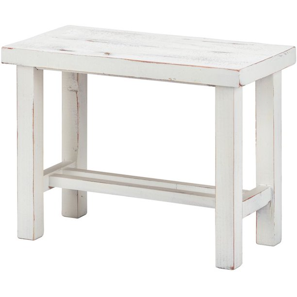 Luxury Living Solid Wood 24-Inch Wide Loft Small Bench in White