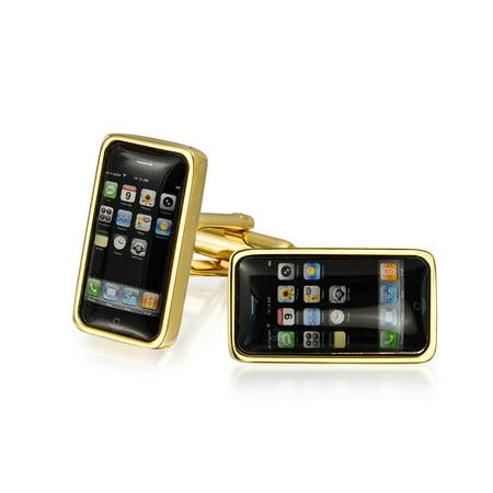 Black Cell Smart Phone Texting Addict Cufflinks For Men Shirt Cuff Links Hinge Back Gold Plated Brass Steel Enamel