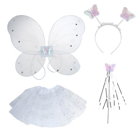 Lux Accessories White Fairy Mini Skirt Butterfly Wing Head band Costume Set - Fall Fairy Costume
