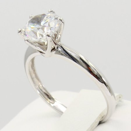 Gold Six Prong Solitaire (1.50 Ct 14K Real White Gold Round Cut 6 Prong Cathedral Setting Classic Solitaire Engagement Wedding Bridal Propose Promise Ring)