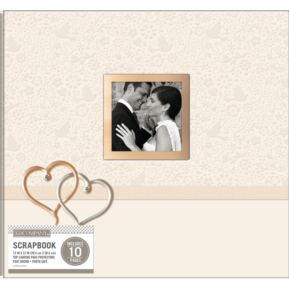"K&Company Post Bound Window Album 12""X12""-Wedding Hearts"