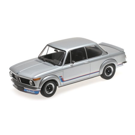 Minichamps Diecast Cars (1973 BMW 2002 Turbo Silver with Stripes 1/18 Diecast Model Car by)