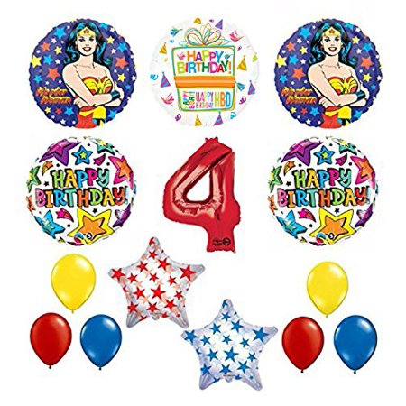 Wonder Woman 14 pc Superhero 4th Birthday Party Supplies and Balloon Decorations - Wonder Woman Pinata