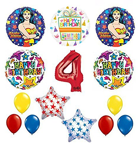 Wonder Woman 14 pc Superhero 4th Birthday Party Supplies and Balloon Decorations