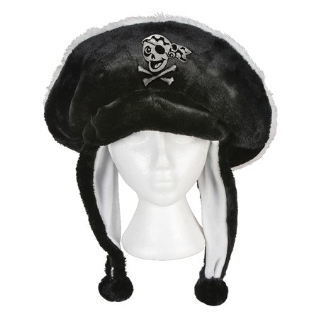 Black Plush Pirate Hat Skull And Crossbones Ear Cover Flaps Costume - Skull Crossbones