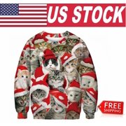 Women Men Christmas Sweatshirt Xmas Sweater Cute Santa Cat 3D Prints(XL)