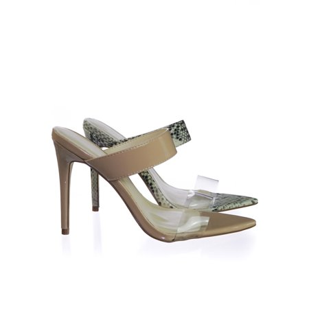 Exception01 by Anne Michelle, Pointed Toe Mule Sandal Slipper w Clear Transparent Lucite -
