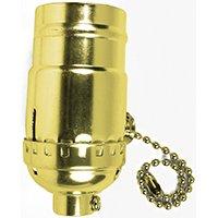 Jandorf 60410 On/Off Pull Chain Lamp Socket, 250 V, 250 W, Brass Brass 5 Candelabra Sockets