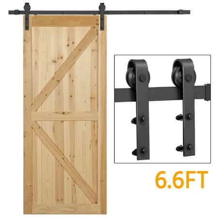 Yaheetech 6.6 Ft Antique Single Black Steel Sliding Barn Wood Door Hardware Kit Track System Set Pottery Barn Daily System