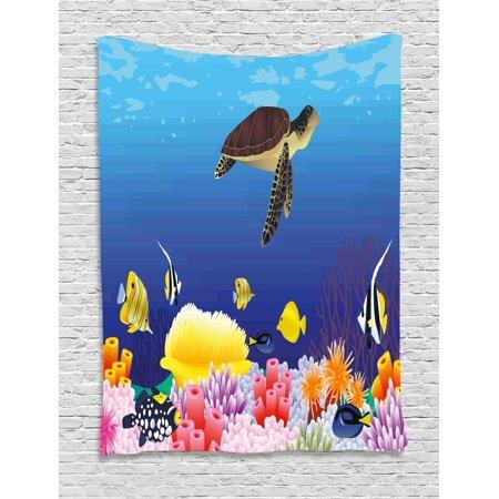 Ocean Tapestry Modern Cartoon Deep Sea Nautical Navy Aquarium Fish Turtle Rocks Moss Artwork Print Wall Hanging For Bedroom Living Room Dorm Decor
