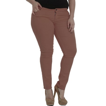 53d04fc54a6 Hey Collection Juniors Plus-Size Brushed Stretch Twill Low Rise ...