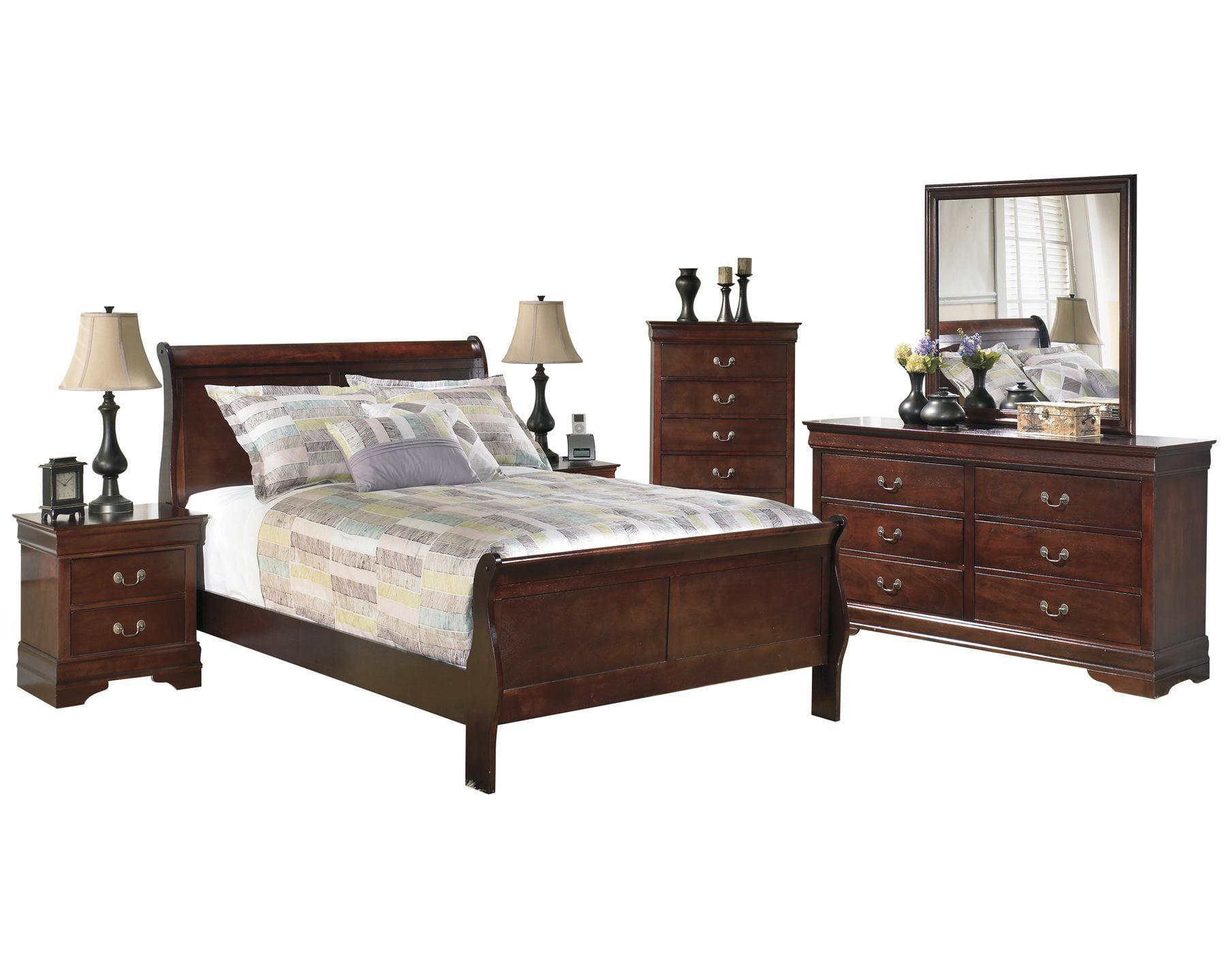 Ashley Furniture Alisdair 6 PC Bedroom Set: Cal King Sleigh Bed 2  Nightstand Dresser Mirror Chest Dark Brown - Walmart.com
