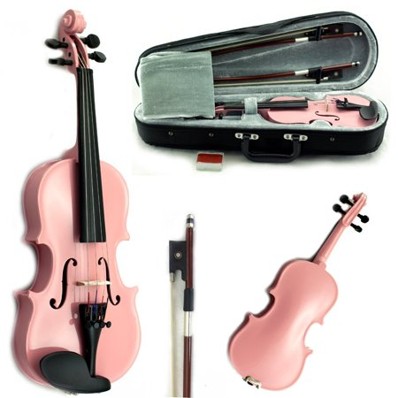 SKY Solid Wood 1/16 Size Kid Violin with Lightweight Case, Brazilwood Bow and Sky Pink Color