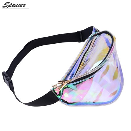 Spencer Hologram Fanny Waist Pack Shiny Metallic Bum Travel Waist Pouch Bag for Women (Clear)