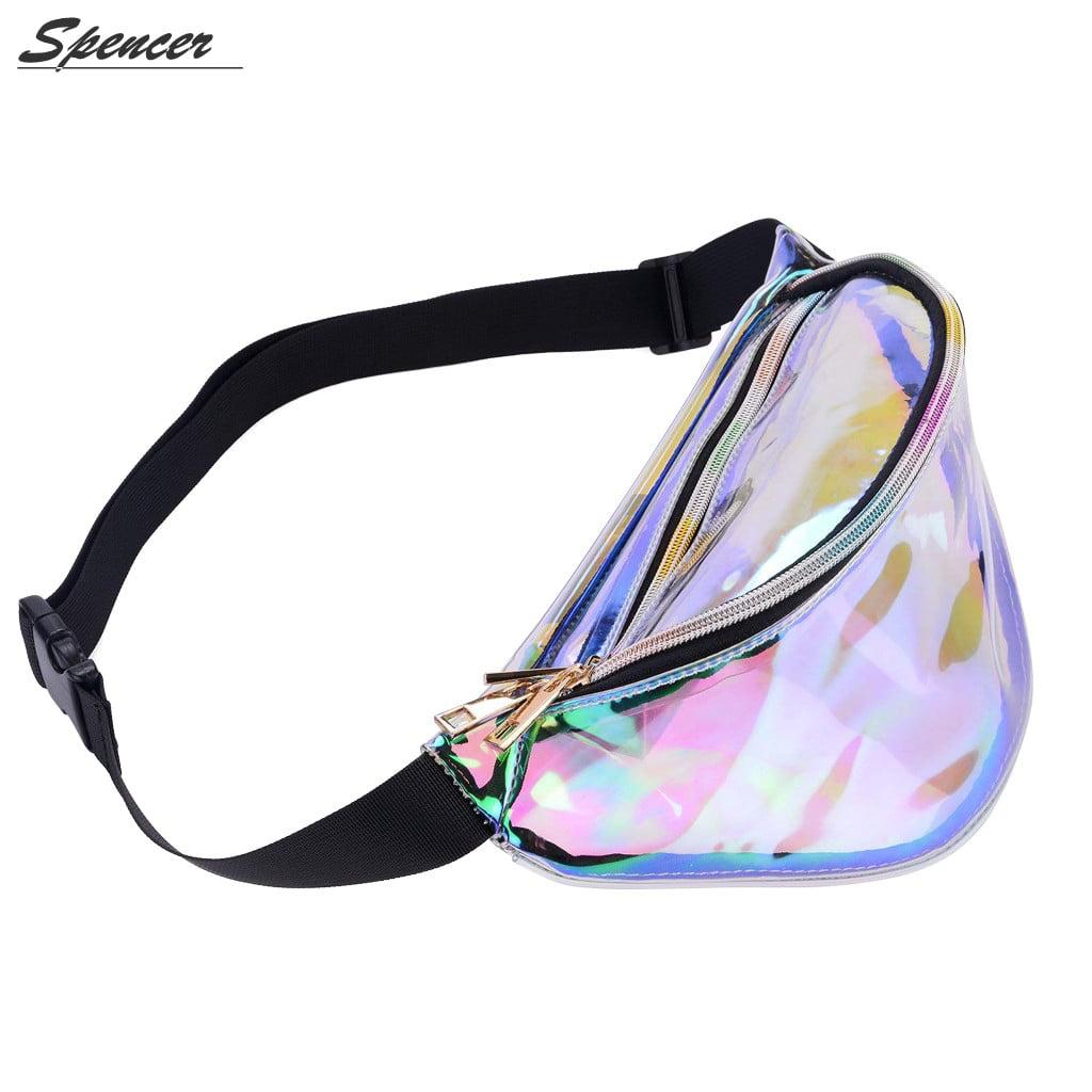 Spencer Hologram Fanny Waist Pack Shiny Metallic Bum Travel Waist Pouch Bag for Women (Clear)