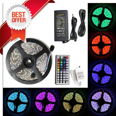 LED4Everything (TM) 5M 16.4ft 12v SMD RGB 5050 IP65 Waterproof 300 LED Flexible Tape Strip Light + 44 Key Remote Controller + 5A Power Adapter Bundle (Lighted Controller)