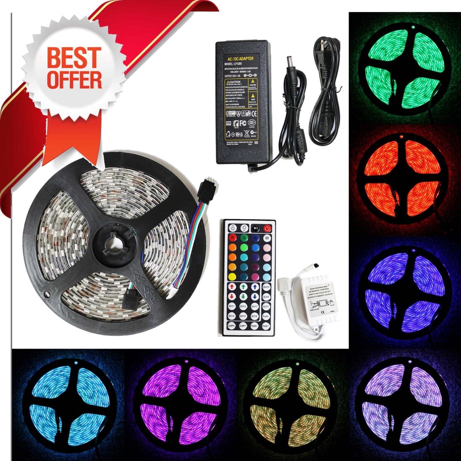 LED4Everything (TM) 5M 16.4ft 12v SMD RGB 5050 IP65 Waterproof 300 LED Flexible Tape Strip Light + 44 Key Remote Controller + 5A Power Adapter Bundle Kit