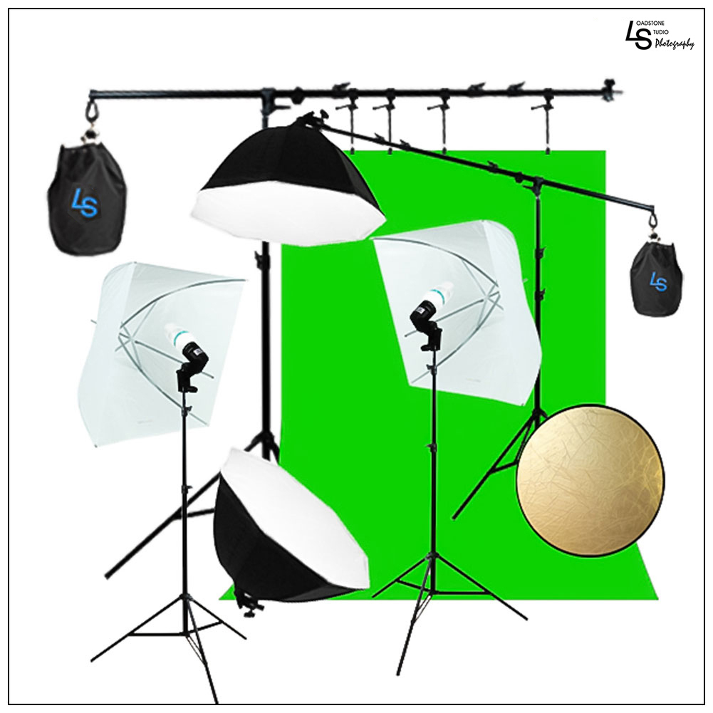 Boom Arm Extension Background Support Kit with Octagon Softboxes and Square Umbrellas for Photo and Video by Loadstone Studio WMLS1003