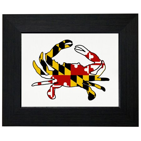 Maryland Crab   Flag Background Chesapeake Bay Framed Print Poster Wall Or Desk Mount Options