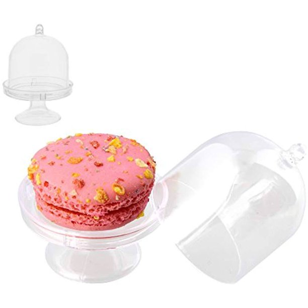 Mini Cake Stand Plate With Dome Cover, Single Glass Cupcake Stand With Dome
