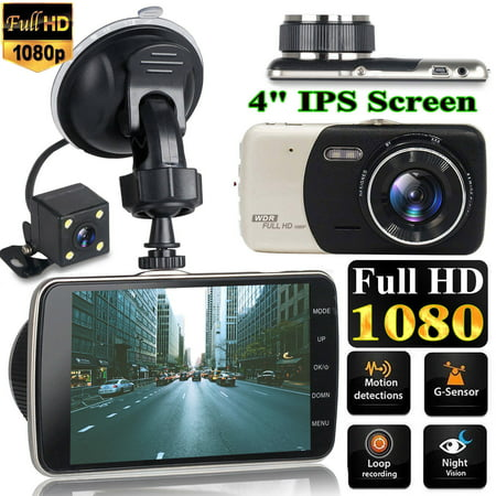 "4"" Dual Lens Car DVR Camera Dash Cam Dashboard Camera Video Rear Recorder G-Sensor HD 1080P"