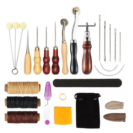 Ejoyous 17 Pcs Leather Tools DIY Hand Stitching Kit with Groover Awl Waxed Thimble Thread for Sewing, Leather Sewing Kit, Leather awl kit - image 6 of 7