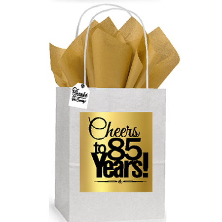 85th Cheers Birthday / Anniversary White and Gold Themed Small Party Favor Gift Bags Stickers Tags -12pack - Good Party Themes