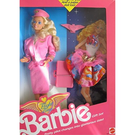 barbie flight time doll gift set w extra fashion, brief case & more! change pretty pilot into glamorous date! (1989) Airlines Flight Attendant Doll