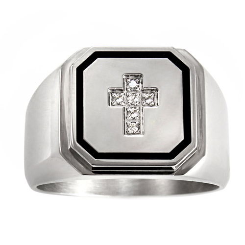 Men's .05 ctw Stainless Steel Diamond Accent Cross Ring, 8mm