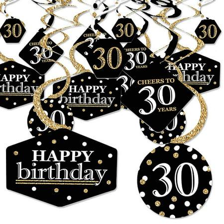 30th Birthday Decor (Adult 30th Birthday - Gold - Birthday Party Hanging Decor - Party Decoration Swirls - Set of)