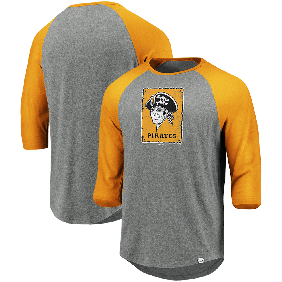Pittsburgh Pirates Majestic Cooperstown Collection Special Invitation Tri-Blend 3/4-Sleeve Raglan T-Shirt - Heathered Gray