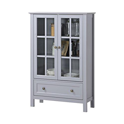 Captivating Country Style Gray Modern Double Door Glass Wood Accent Display Storage  Cabinet Organizer With Storage Drawer