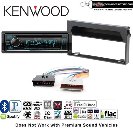 kenwood kdcx303 double din radio install kit with bluetooth, cd player,  usb/aux fits 1997-1998 f-150 without premium sound and a sots lanyard  included