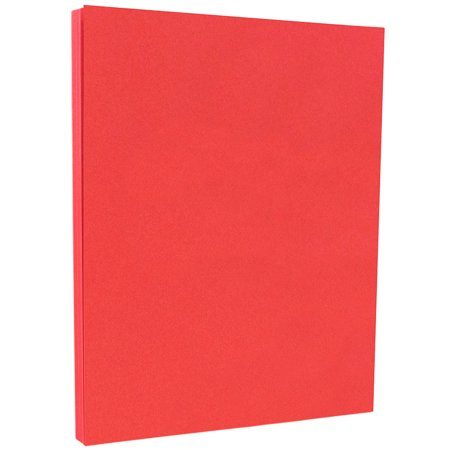 JAM Paper Bright Colored Cardstock, 8.5 x 11, 65 lb Brite Hue Red Recycled, 50 -