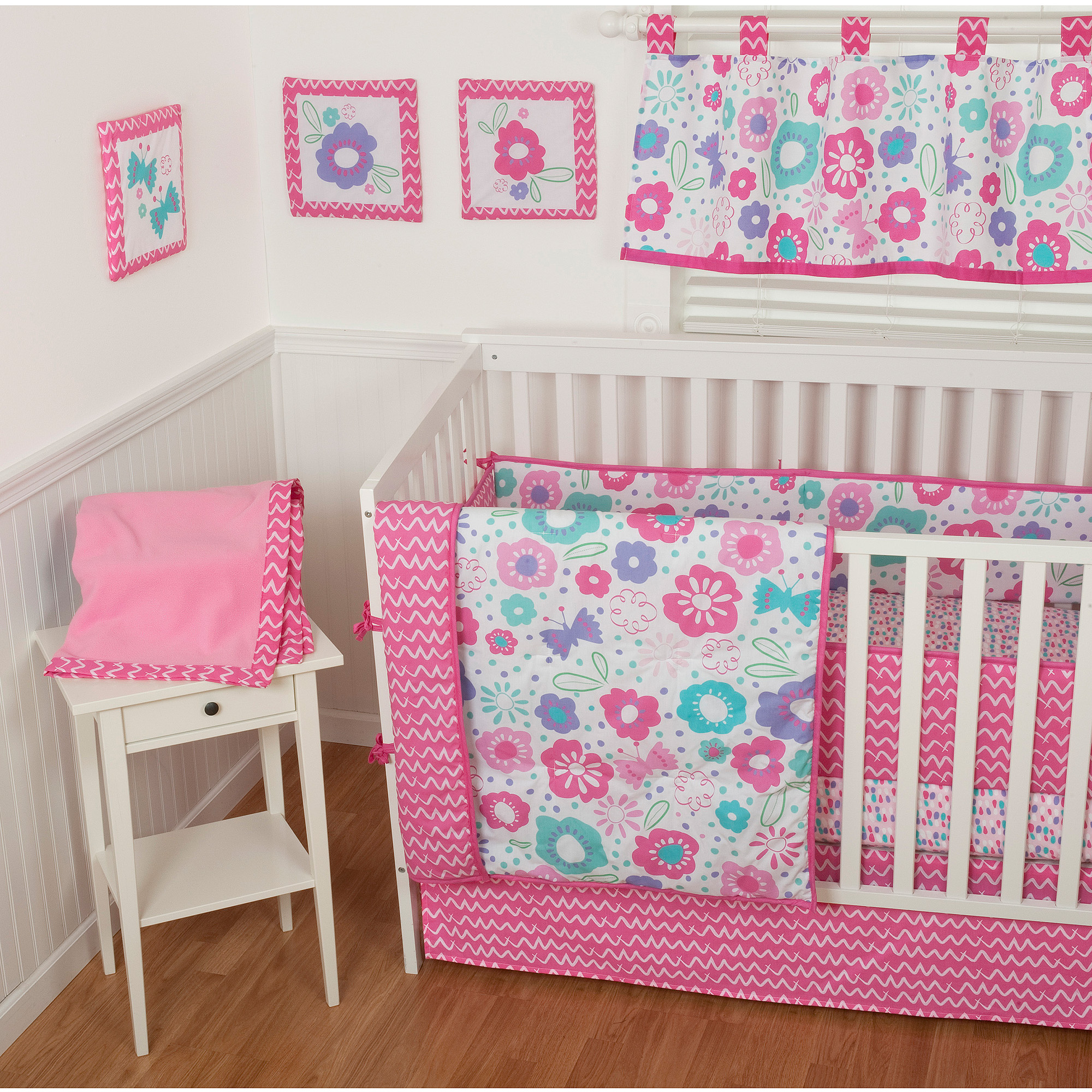 blossom bedding and set blossoms girl bumperless category liz floral cribs baby product luxury roo crib aqua