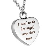 """""""I used to be her angel, now she's mine"""" Cremation Jewelry for Ashes Keepsake Memorial Urn Necklace for Friend/Family/Pet"""