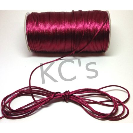 50 Yards - 2mm Wine/burgundy Satin Rattail Cord Chinese/china Knot Rat Tail Jewelry Braid 100% Polyester, From US,Brand generic ()