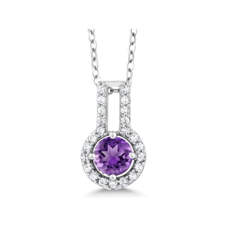 1.83 Ct Round Purple Amethyst White Created Sapphire 925 Sterling Silver Pendant