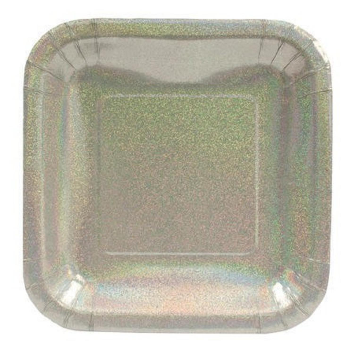 Club Pack of 96 Silver Glitz Prismatic Square Party Luncheon Paper Plates 7""