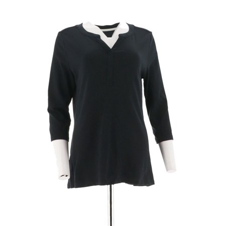 Pima Cotton Tunic (Isaac Mizrahi Essentials Pima Cotton Henley Tunic A286106)
