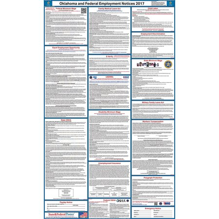2017 Oklahoma State And Federal Labor Law Poster  Laminated