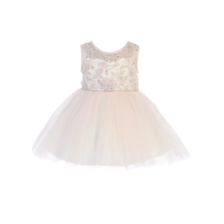 Tip Top Kids Baby Girls Blush Illusion Neck Lace Flower Girl Easter Dress