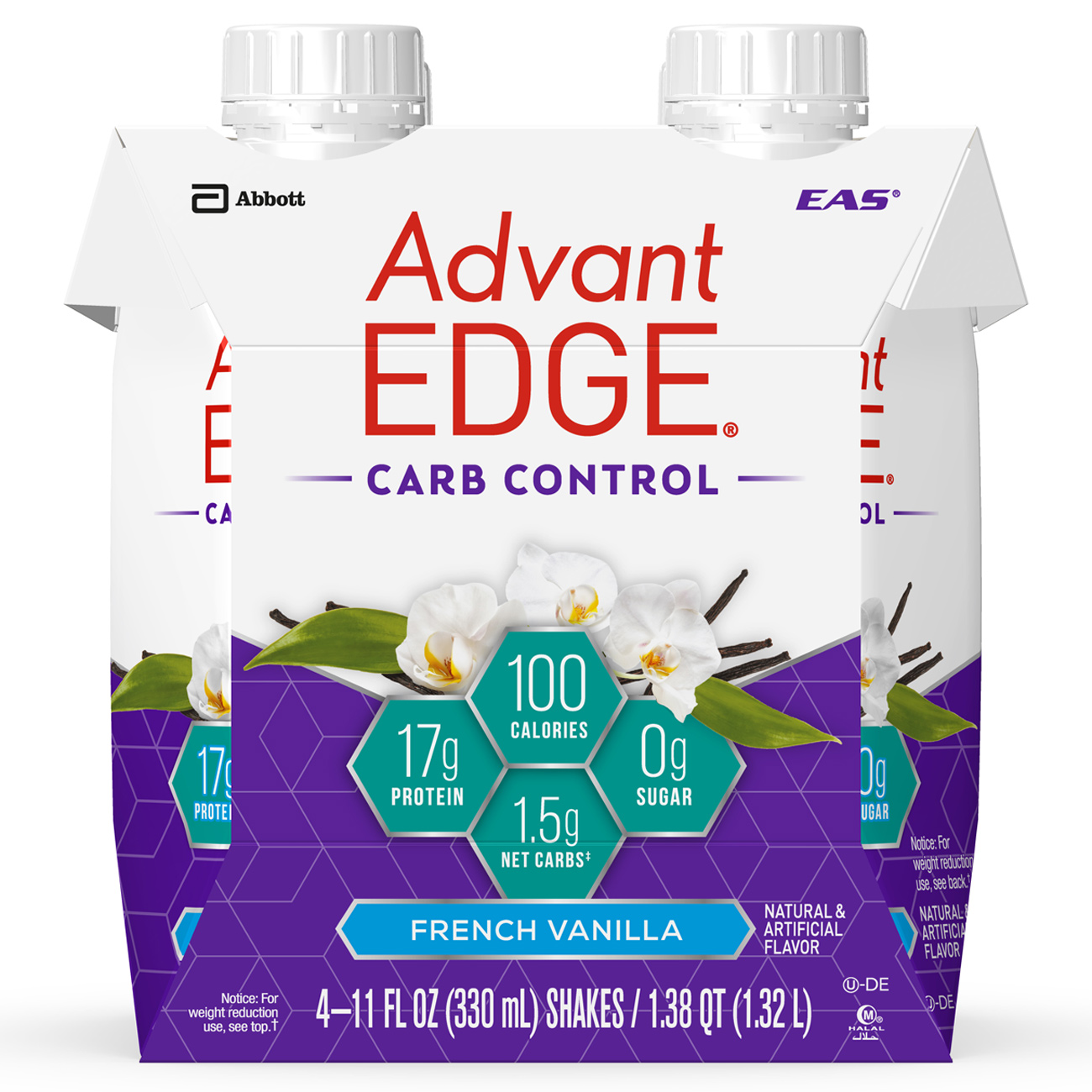 EAS AdvantEDGE Carb Control Protein Shake, French Vanilla, 17g Protein, 4 Ct