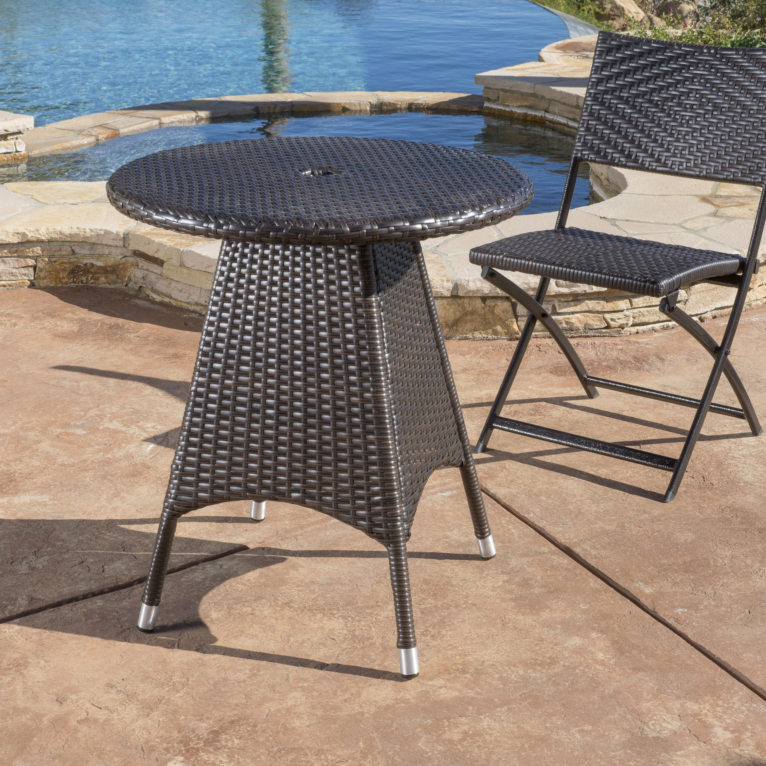 Ramsey Outdoor Round Wicker Bistro Table, Multibrown